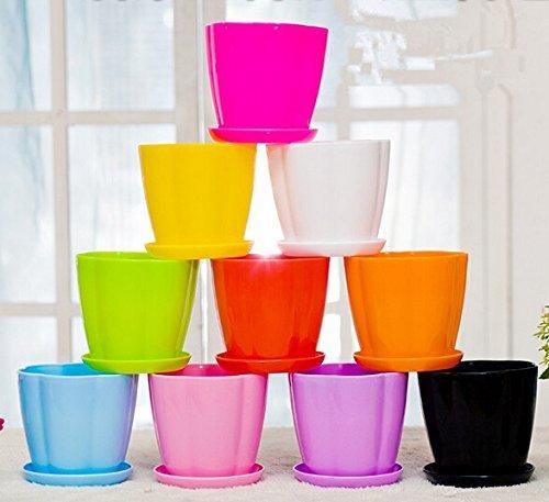 Mecai 5 inch Plastic Flower Seedlings Nursery Pot/Planter/Flower Pot with Pallet 10 Colors,All