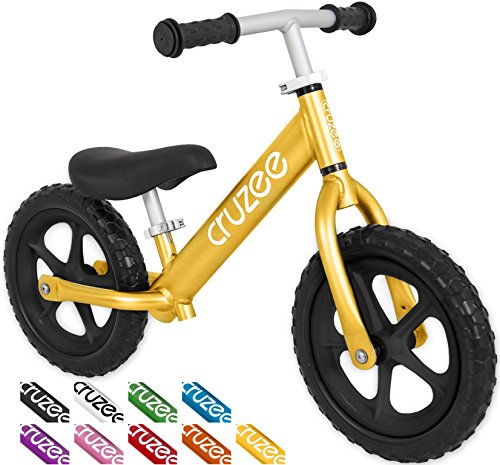 Cruzee UltraLite Balance Bike (4.4 lbs) for Ages 1.5 to 5 Years | Gold BW– Best sport push bicycle for 2 3 4 year old boy & girl – Toddler kids skip tricycle on lightest no pedal first flyer 1