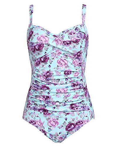 (Ekouaer Womens Elegant Inspired Vintage One Piece Pin Up Monokinis Swimsuit(Purple Flower,Medium) )