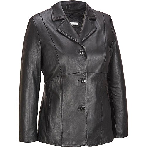 Wilsons Leather Womens Plus Size Button Front Lamb Blazer 3X Black