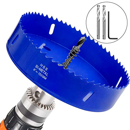 (6 inch Hole Saw for Making Cornhole Boards 152mm Corn Hole Drilling Cutter BI-Metal Heavy Duty Steel Blade & Hex Shank Drill Bit Adapter By STARVAST for Cornhole Game, Home Improvement (Blue) )