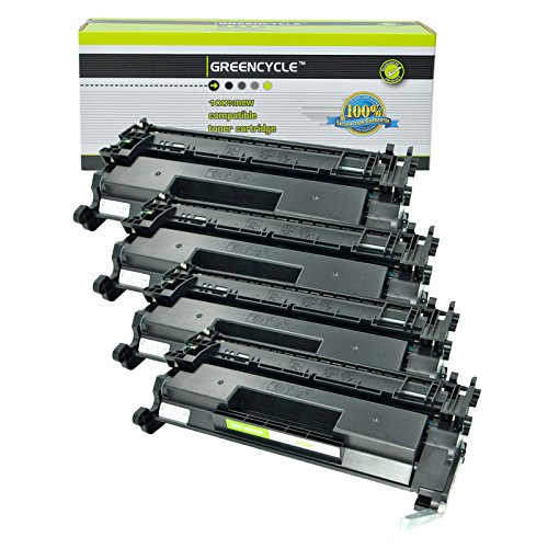 - GREENCYCEL 4 Packs Replacement for HP 26A CF226A 3100 Pages Black Compatible Toner Cartridge for Laserjet Pro M402 M426 M402n M402dn M402dw MFP M426fdw MFP M426fdn M402d MFP M426dw Series Printers