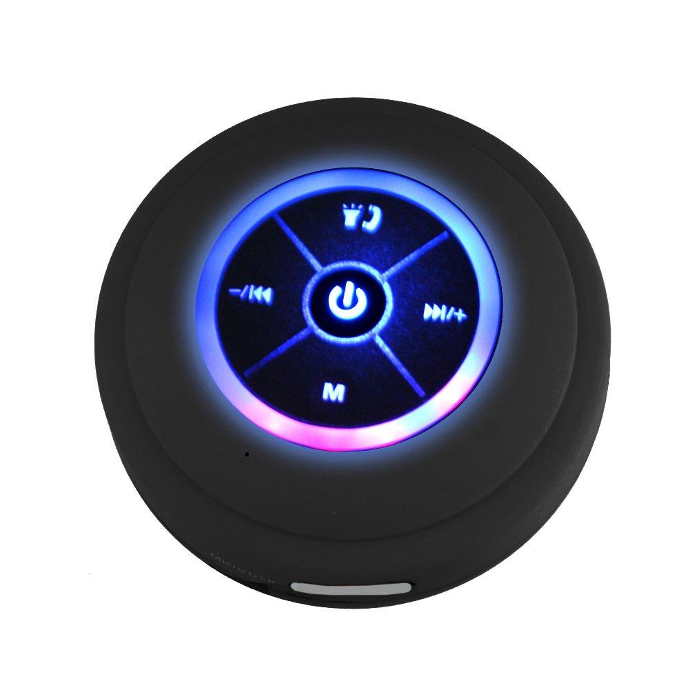 Phoneix LED Bluetooth Speaker Outdoor Waterproof Bathroom Shower Speaker, Black