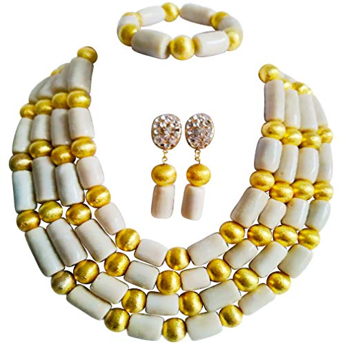 (laanc Womens Coral and Golden Plated African Beads Jewellery Wedding Beads Jewelry Sets (White Gold))