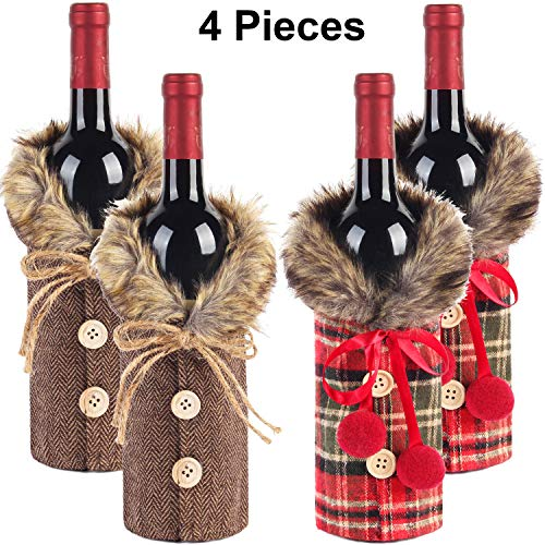 Tanlee 4 Pieces Christmas Sweater Wine Bottle Covers Plaid Wine Bottle Clothes Linen Wine Bottle Dress With Faux Fur Collar And Button Coat Design Wine Bottle Bags For Xmas Party Decorations (4) (Wine Sweater)