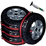 PANAMOO Spare Tire Cover Pack of 4 with Tire Tread Gauge, Best Seasonal Tires and Wheels Protection Covers for Cars, Quality Tire Storage Totes and Universal Fit, 18-22 Inches, Black