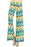 Women's Zigzag Chevron Tribal Print High Waist Wide Leg Long Palazzo Pants