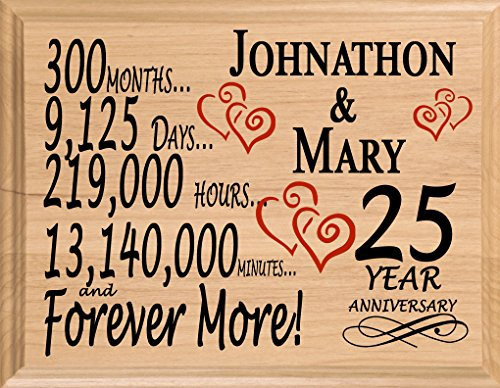 Broad Bay 25 Year Personalized 25th Anniversary Wedding Gift for Wife Husband Couple Him Her