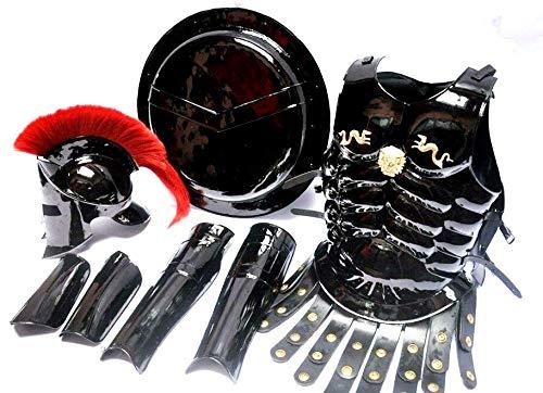 Medieval King Spartan 300 Movie Helmet+Muscle Jacket Best Black Costume -
