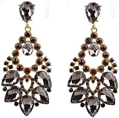 MEEOI exageración de la moda Ear Stud Earrings Ear Hoop 925 plata esterlina para mujer, aleación con piedras preciosas retro Gotas Pendientes
