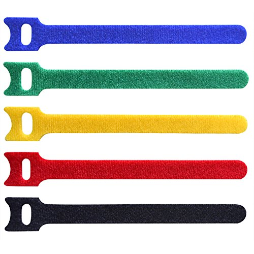 Mr-Label Reusable Cable Ties - Hook and Loop Fastening Wire Securing Straps - for Cord Management (5