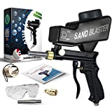 Sand Blaster, Sand Blaster Gun Kit, Sandblaster with 2 Replaceable Tips & ¼' Quick Connect, Safety Goggles, Filter, Media Guide. Works with All Blasting Abrasives - Professional Series (AS118-BL)