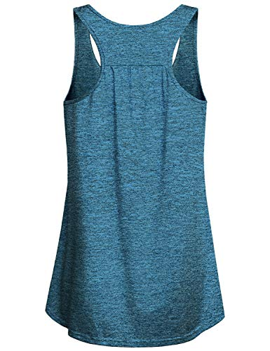 Miusey Sleeveless Shirts for Women,Junoirs Scoop Neck Tank Tops Fashion Gym Sport Clothes Exercise Moisture Wicking Breathable Lightweight Airy Stretchy Fitness Plain Yoga Cami Blue M by Miusey (Image #1)