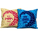 indibni Parents Anniversary Gift Best Mom Dad Ever Quote Multi Cushion Cover 16x16 inch Set of 2 - Gift for Mother-Father-Birthday, Mom Daddy Throw Pillow