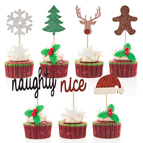 Donoter 35 Pcs Glitter Christmas Cupcake Toppers Snowflake Tree Naughty or Nice Santa Hat Reindeer Gingerbread Cake Picks for Xmas Party Decorations (Nice Tree Xmas)