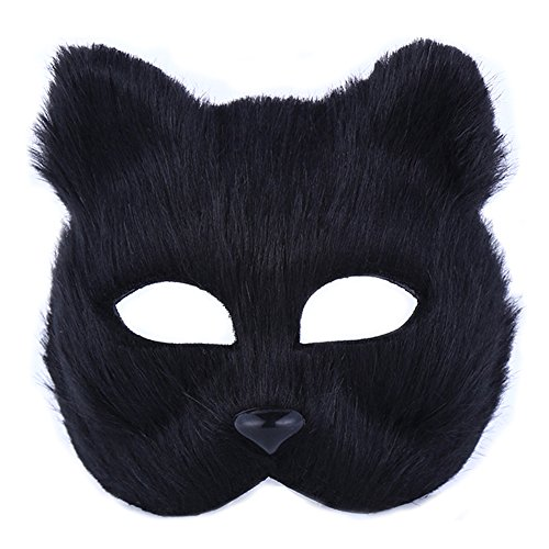 Furry Costume Party (UClever Halloween Fox Mask Animal Furry Face Mask for Costume Party Masquerade Cosplay Party Accessory (Black))
