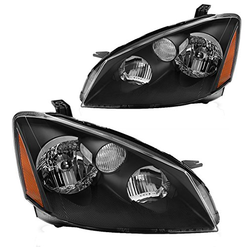 Headlight Assembly for 2005 2006 Nissan Altima Replacement Headlamp with Halogen bulb, Black Housing Amber Reflector, One-Year Warranty(Passenger And Driver Side)