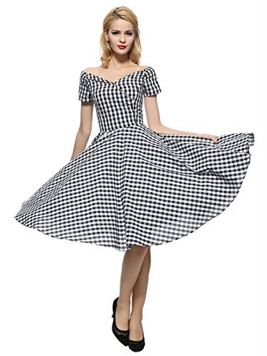 Maggie Tang 50s 60s Vintage Swing Rockabilly Party Full Circle Dress Black (50s Full Skirt Dress)