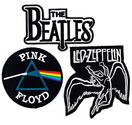 Set_ROCK010 - Pink Floyd Patch, The Beatles Band Patches and Led Zeppelin Patch, 3 Pcs Heavy Metal Patches, Applique Embroidered Patches - Rock Band Iron on - Appliques Metal