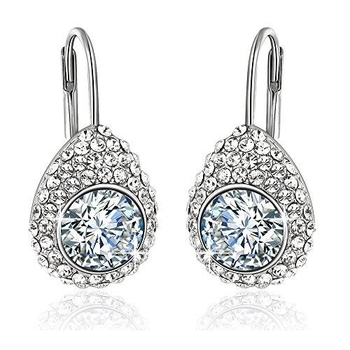 Yellow Chimes Swarovski Elements White Crystal Princess Cut Designer Earrings…