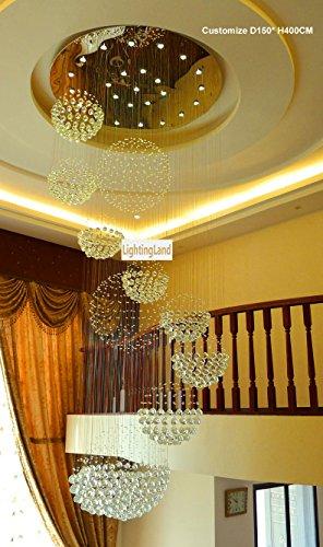 Siljoy 40 Quot D X 118 Quot H With 16 Lights Large 11 Sphere Clear