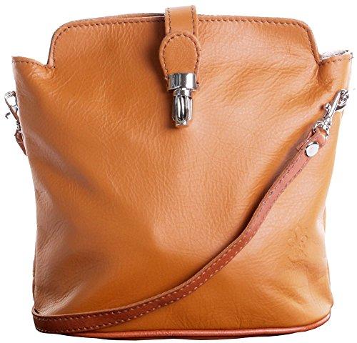 Primo Sacchi Italian Soft Leather Hand Made Small Tan Cross Body or Shoulder Bag Handbag (Handmade Leather Italian)