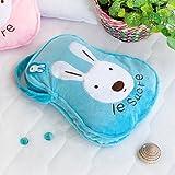 [Sugar Rabbit - Blue] Throw Blanket Pillow Cushion / Travel Pillow Blanket (25.2 by 37 inches)