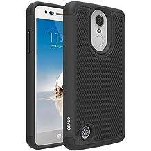 LG Aristo Case, LG Rebel 3 LTE Case, LG Phoenix 3 Case, LG Fortune Case, LG Rebel 2 LTE Case, LG Risio 2 Case, LG K8 2017 Case, OEAGO [Shockproof] Hybrid Dual Layer Defender Phone Case Cover (Black)