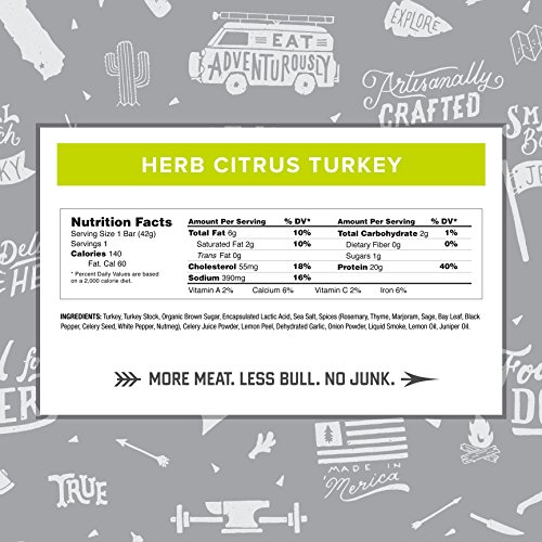 Country Archer Gluten/Antibiotic Free Frontier Bar, Herb Citrus Turkey, 20g Protein, Paleo Friendly 1.5 Ounce (Pack of 12)