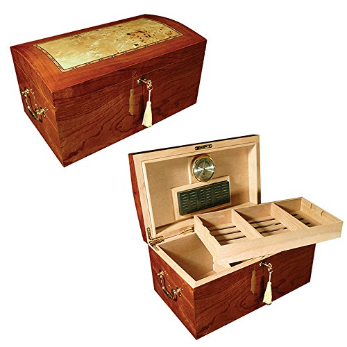 Prestige Import Group - The Broadway Cigar Humidor - Color: Lacquer Burl w/ Mappa Wood Inlay by Prestige Import Group