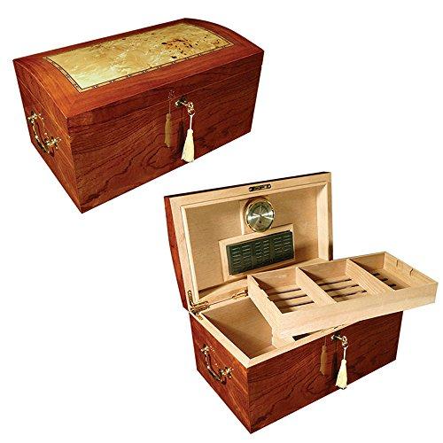 (STUNNING INLAY 150 Capacity Cigar Humidor Burl Inset Humidors)