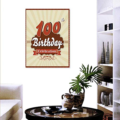 Anyangeight 100th Birthday Wall Paintings Chocolate Wrap Like Brown Party Invitation Hundred Years Celebration Print On Canvas Wall Decor 32