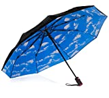 IHOR Compact Micro Mini Black Travel Umbrella with Blue Sky Canopy, Easy Touch