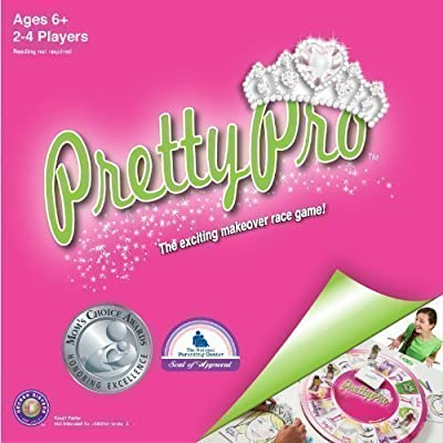 "PrettyPro Game:Unique award winning board game of ""makeup artists"" who race to the finish & capture the prettyheart tiara while learning an inner beauty message!Best family board games for kids"