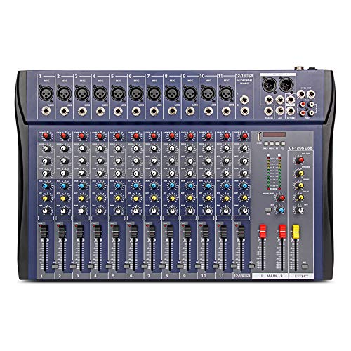 XTUGA CT-120S USB Professional Stage Audio Mixer Built-in Digital Effect Mixer with 48V Phantom Power Music Mixer 12 Channel Mixer (CT120S-12Channel)