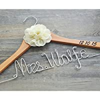 Personalized wedding hanger with date, custom bridal bride bridesmaid name hanger, custom wedding hanger, personalized wedding dress hanger