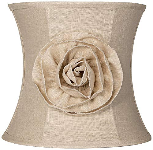 Almond Linen with Flower Drum Shade 11x12x11 (Spider) - Springcrest