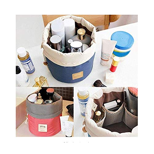 Aoesila Travel Cosmetic Bags Barrel Makeup Bag,Women Portable Multifunctional Toiletry Bags Round Organizer Storage Pocket Purple