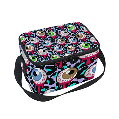 Lunch Box with Halloween Gothic Eyeball Eye Zombie Print, Lunch Bag Insulated Cooler Picnic Bags with Shoulder Strap for School Picnic -