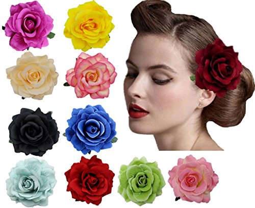 Amuhou Womens Rose Flower Hair Clip Flower Brooch for Bridal Headpiece,Flamenco Dancer 10-Pack (Mixed 10 Colors) (10k Brooch)