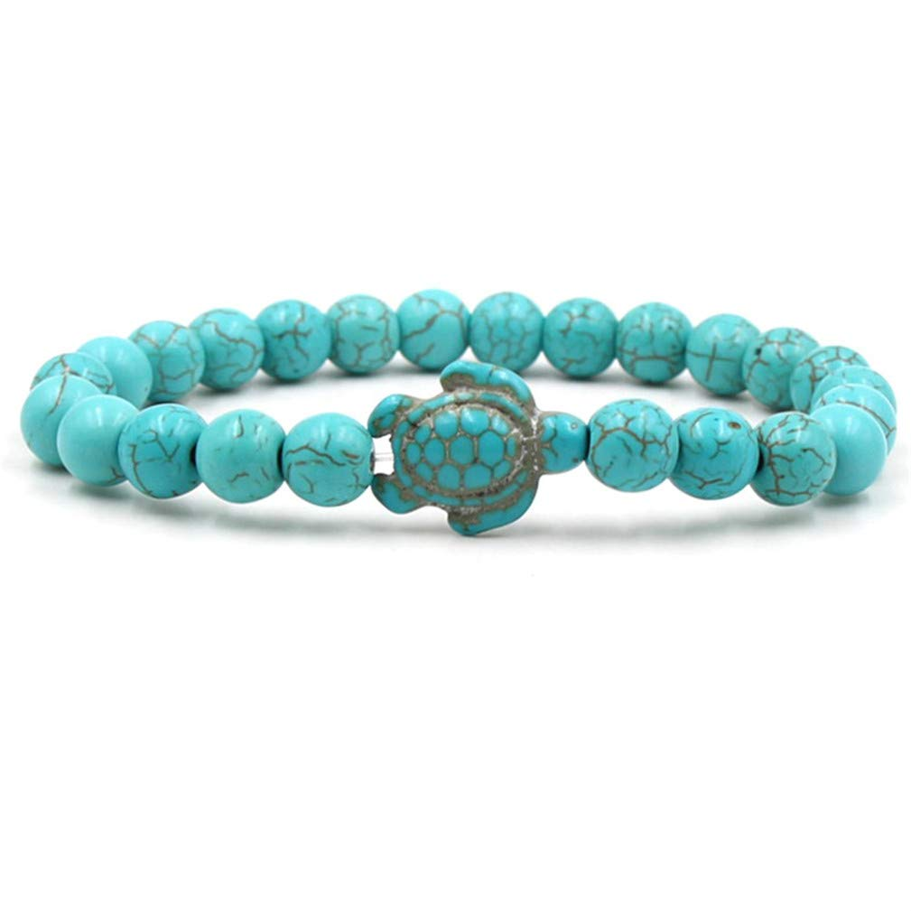 SONGLIN Turquoise Sea Turtle Beads Bracelets for Women Men Classic Natural Stone Elastic Bracelet Beach Jewelry