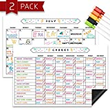 Chore Chart and Monthly Calendar White Board Set, Magnetic 11' x 17' Dry Erase Responsibility Refrigerator Reward Incentive Whiteboard for Kids - Reusable Multiple Child Magnet