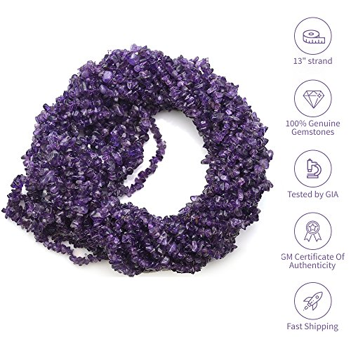 1 Strand (34inches) of Real Natural Amethyst Gemstone Chips Beads. Deep color, wholesale price. Prepared exclusively by GemMartUSA
