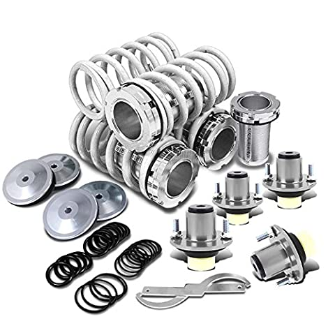 Civic/Del Sol/Integra Silver Scaled Sleeve White Coilover+Silver Top Hat Mounting Kit - 0 White Camber