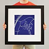 Colby College Campus Map Art, 23'' Frame + Mat
