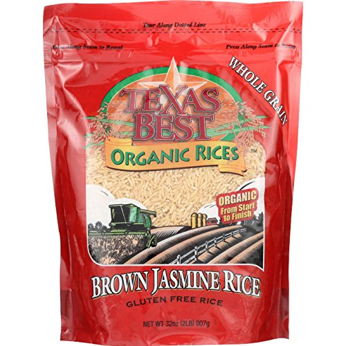 Texas Best Organics Rice - Organic - Jasmine Brown - 32 oz - case of 6 - 100% Organic - Gluten Free - Dairy Free - Wheat Free-Vegan by Texas Best Organics