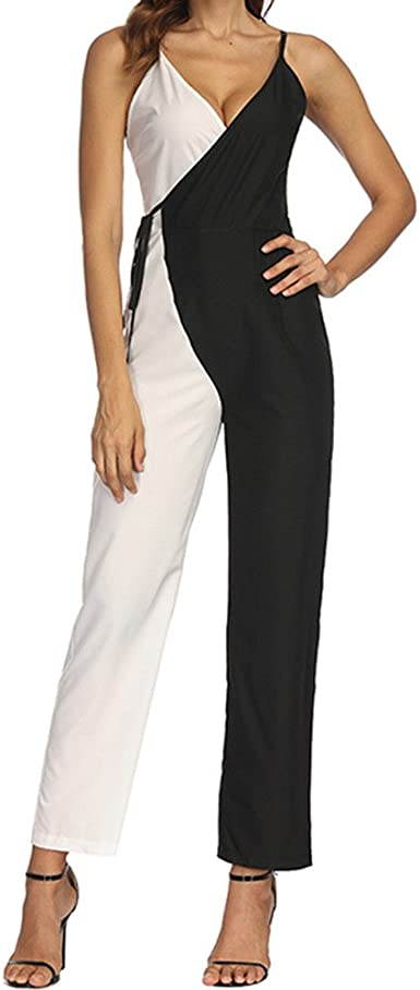 Women Sleeveless V-neck solid Wide Legs Pants Jumpsuit Romper Trousers Black