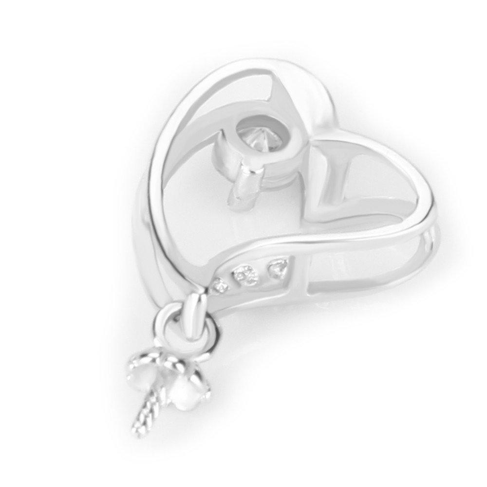 Bling cz heart set earrings 8mm pendant 10mm 925 silver pink bobin brand new