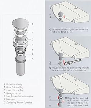 Senza Troppopieno Pop Up di Scarico Anti-corrosione e Facile da Pulire per Lavandino BONADE Sifone Rotonda Ottone