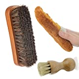 Pack of 3 Shoe Shine Brush Cleaning Kit,100% Soft Horsehair Polish Brush,Shoe Dauber, Wool-like FabricPolish Gloves